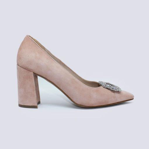 zapatos ante nude con piedra